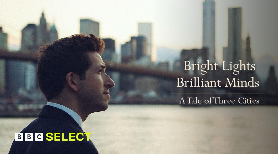 Presenter standing in front of New York skyline