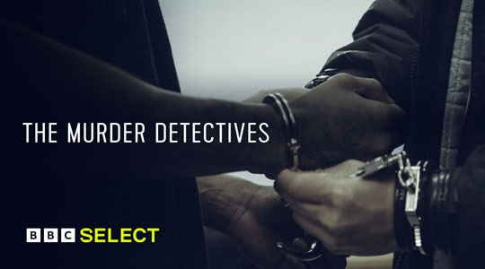 Person putting set of handcuffs on another's hands for 'The Murder Detectives' TV title