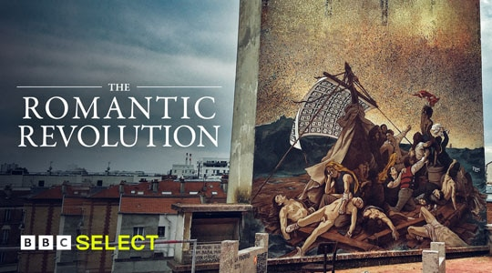 Art frieze on building in cityscape to showcase title The Romantic Revolution