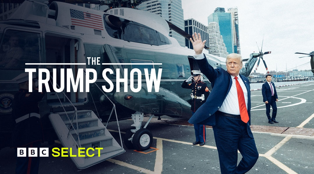 Donald Trump exits a helicopter