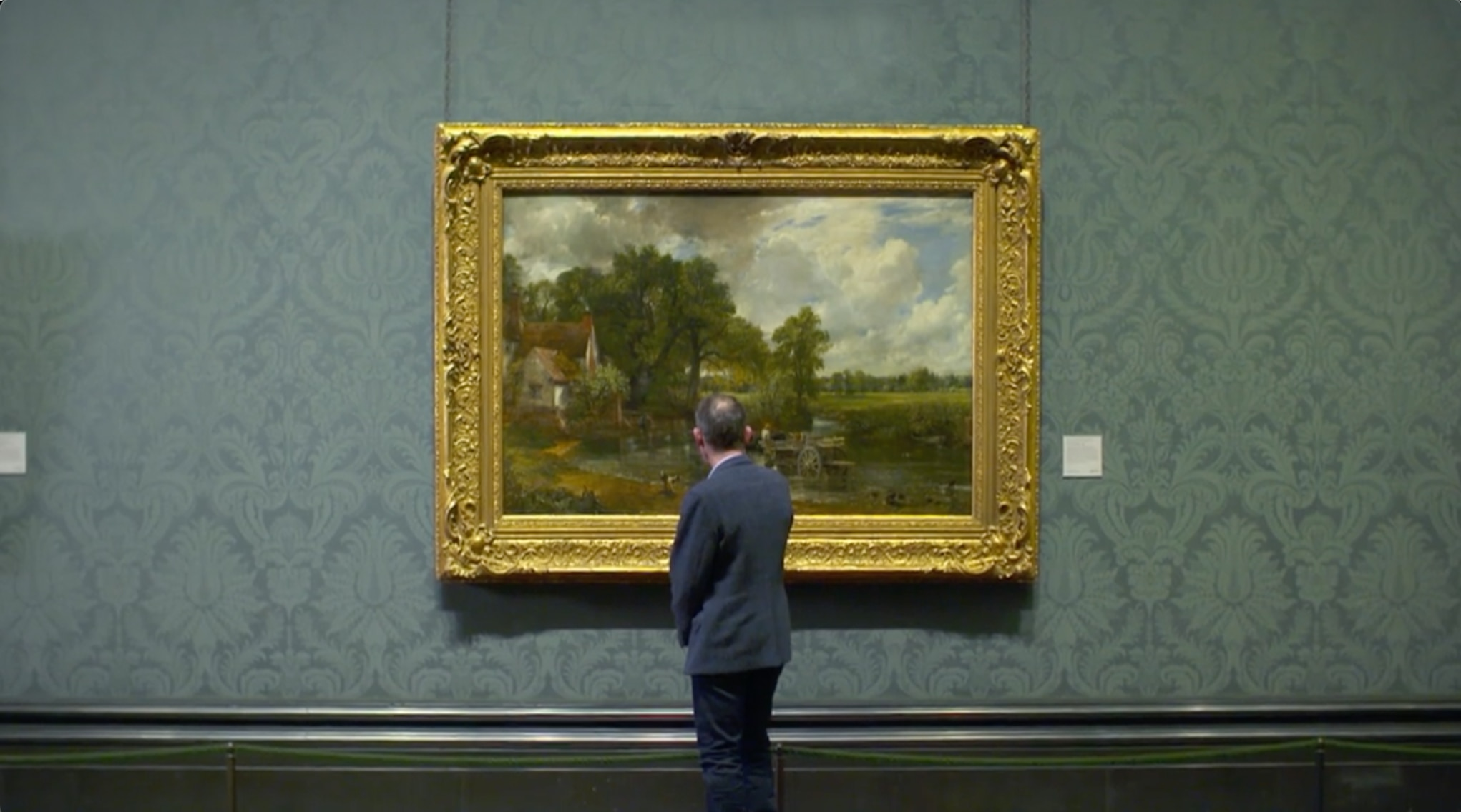 Andrew Marr looking at The Hay Wain by John Constable